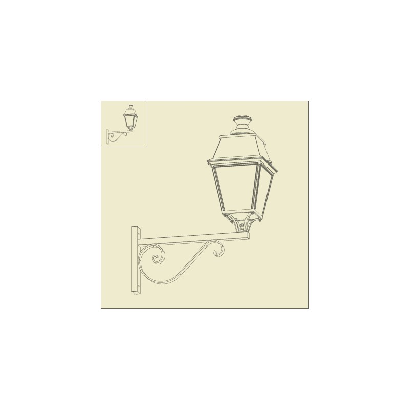 applique murale avenue 4 potence rustique vert de gris roger pradier. Black Bedroom Furniture Sets. Home Design Ideas
