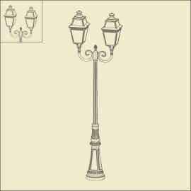 Lampadaire 2 lumières Avenue 3 Vert de gris