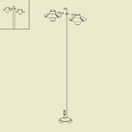 Lampadaire Aubanne 2 lumières Rouille