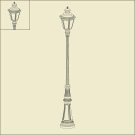 Lampadaire Louis XIII 2m49 Vert de gris