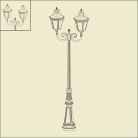 Lampadaire 2 lumières Louis XIII 2m57 Patine dorée