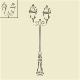 Lampadaire 2 lumières Avenue 3 Patine dorée