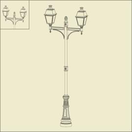 Lampadaire 2 lumières Avenue 4 Patine dorée