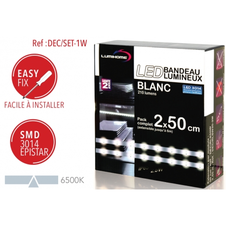 Ruban LED Blanc froid 2 x 50cm Lumihome